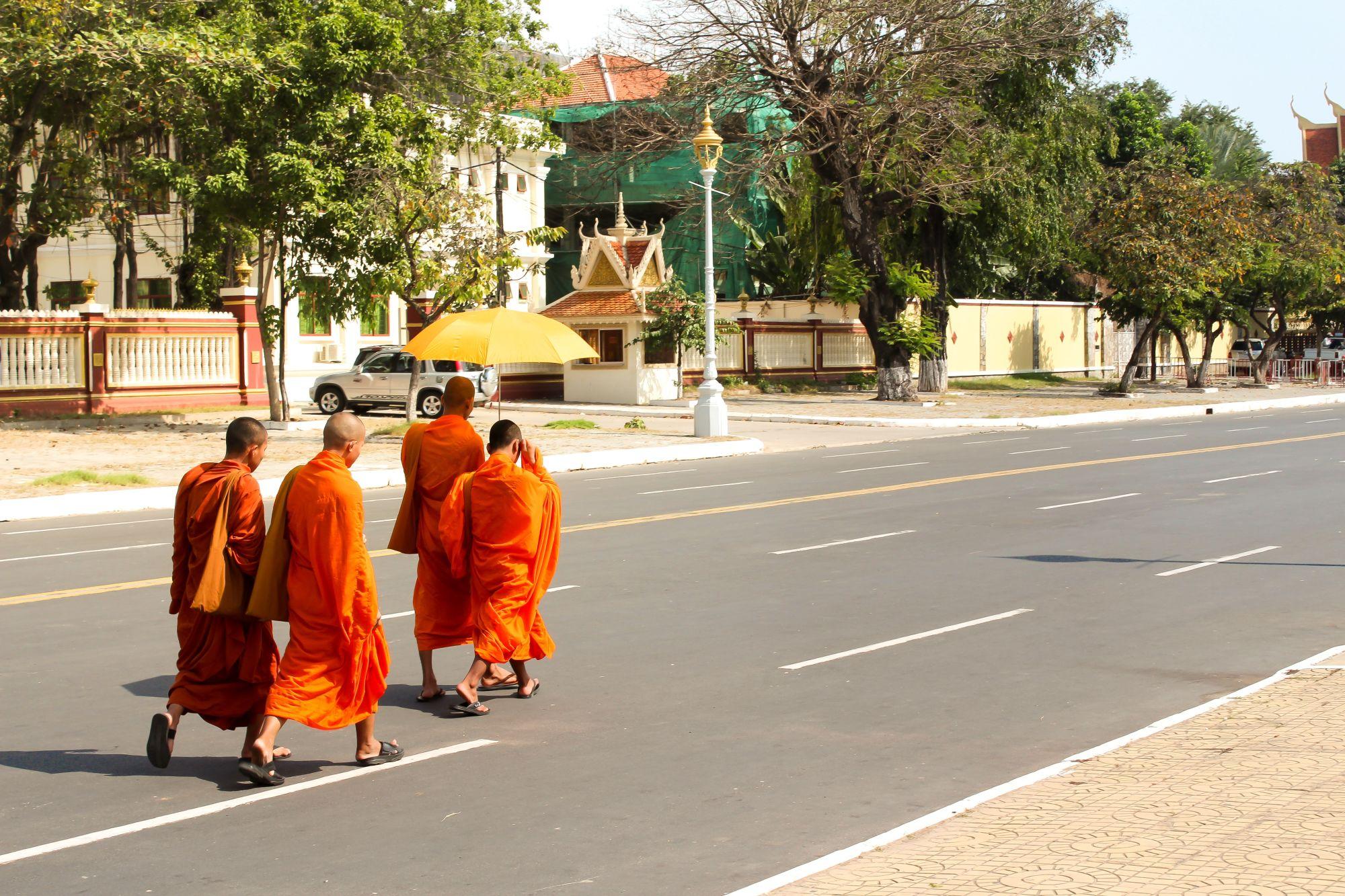 Highlights of Saigon, the Mekong, & Angkor Wat Tours 2019 - 2020 -  Monks walking on the road