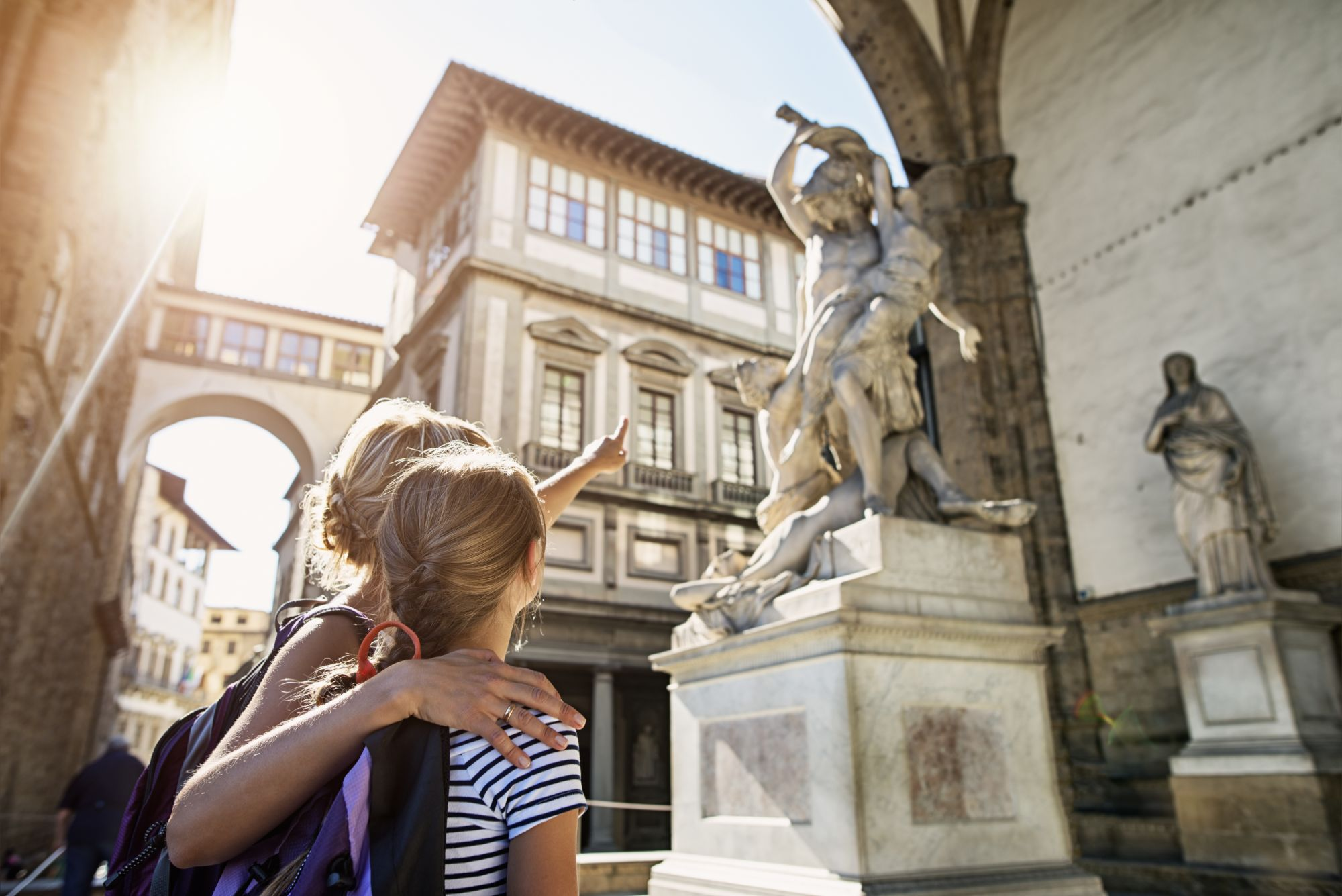 Italian Honeymoon Tours 2019 - 2020 -  Mother and daughter visiting city of Florence (Firenze), Tuscany stock photo